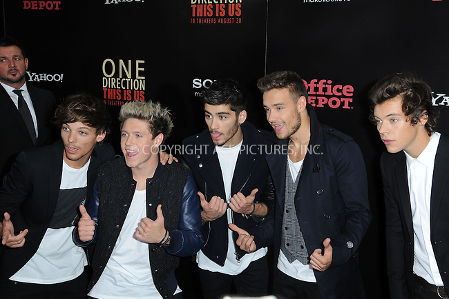 WWW.ACEPIXS.COM<br /> August 26, 2013...New York City <br /> <br /> Louis Tomlinson, Zayn Malik, Niall Horan, Liam Payne and Harry Styles attend the world premiere of 'One Direction: This Is Us' at the Ziegfeld Theater on August 26, 2013 in New York City.<br /> <br /> Please byline: Kristin Callahan... ACEPIXS<br /> Ace Pictures, Inc: ..tel: (212) 243 8787 or (646) 769 0430..e-mail: info@acepixs.com..web: http://www.acepixs.com