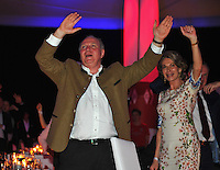 10.05.2014, Postpalast, Muenchen, GER, 1. FBL, FC Bayern Muenchen Meisterfeier, im Bild Uli Hoeness, former president of FC Bayern Muenchen dances Uli Hoeness, // during official Championsparty of Bayern Munich at the Postpalast in Muenchen, Germany on 2014/05/11. EXPA Pictures © 2014, PhotoCredit: EXPA/ Eibner-Pressefoto/ EIBNER<br /> <br /> *****ATTENTION - OUT of GER***** <br /> Football Calcio 2013/2014<br /> Bundesliga 2013/2014 Bayern Campione Festeggiamenti <br /> Foto Expa / Insidefoto