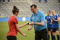 Kansas City, Kansas - Saturday April 16, 2016: FC Kansas City head coach Vlatko Andonovski receives his championship ring before the game against Western New York Flash at Children's Mercy Park. Western New York won 1-0.
