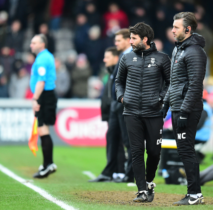 Lincoln City manager Danny Cowley, left, and Nicky Cowley in the technical area<br /> <br /> Photographer Andrew Vaughan/CameraSport<br /> <br /> The EFL Sky Bet League Two - Lincoln City v Grimsby Town - Saturday 19 January 2019 - Sincil Bank - Lincoln<br /> <br /> World Copyright © 2019 CameraSport. All rights reserved. 43 Linden Ave. Countesthorpe. Leicester. England. LE8 5PG - Tel: +44 (0) 116 277 4147 - admin@camerasport.com - www.camerasport.com