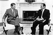 United States President Ronald Reagan meets Vice President Hosni Mubarak of Egypt in the Oval Office of the White House in Washington, D.C. on October 2, 1981.  This photo was released by the White House on October 6, 1981 following the assassination of Egyptian President Anwar Sadat and the naming of Mubarak to assume the presidency of Egypt..Credit: White House via CNP