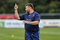 London Scottish players warm up ahead of the Greene King IPA Championship match between London Scottish Football Club and Ealing Trailfinders at Richmond Athletic Ground, Richmond, United Kingdom on 8 September 2018. Photo by David Horn.