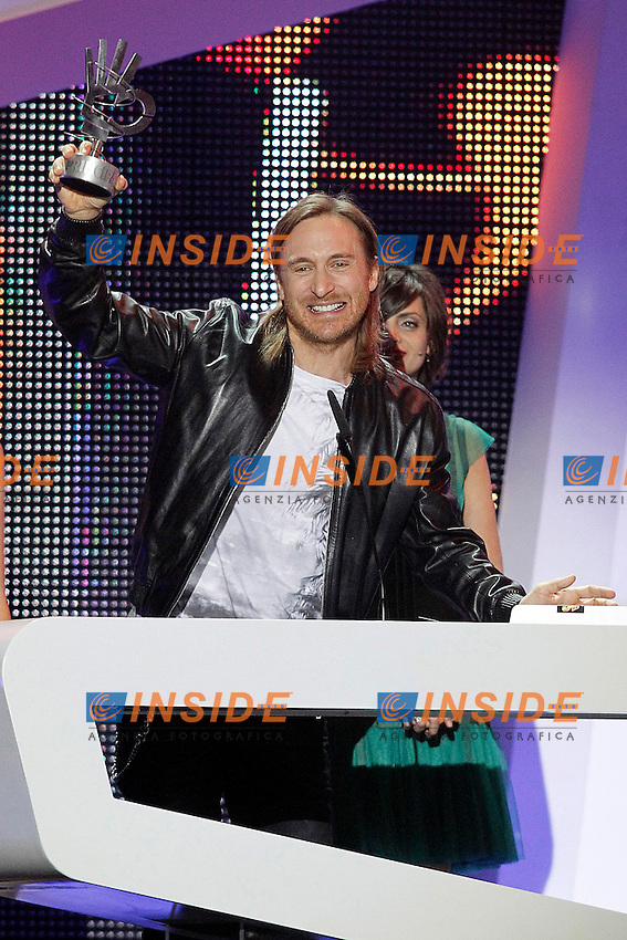 David Guetta with the award for best album during the awards gala '40 Principales 2012'..Foto Insidefoto/Alterphotos/Acero .Madrid 24/1/2013 .Italy Only