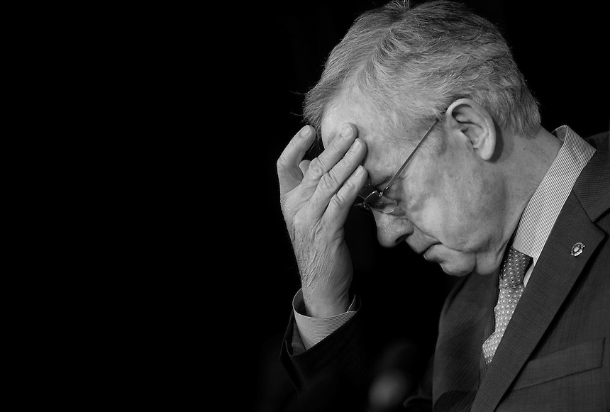 UNITED STATES - FEBRUARY 28: Senate Majority Leader Harry Reid, D-Nev., speaks to the press about the impending sequestration. (Photo By Chris Maddaloni/CQ Roll Call)
