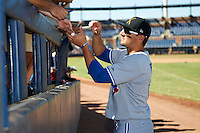 Salt River Rafters outfielder Kevin Pillar #11, of the Toronto Blue Jays organization, signs autographs before an Arizona Fall League game against the Peoria Javelinas at Peoria Stadium on October 17, 2012 in Peoria, Arizona.  Salt River defeated Peoria 12-9.  (Mike Janes/Four Seam Images via AP Images)