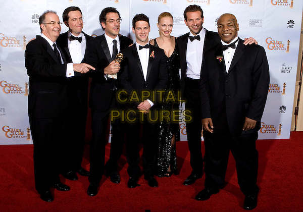 CAST OF THE HANGOVER - WINNER OF BEST MOTION PICTURE, COMEDY OR MUSICAL for The Hangover, Producer Daniel Goldberg, Ed Helms, Director Todd Phillips, Justin Bartha, Heather Graham, Bradley Cooper, and Mike Tyson.at the 67th Annual Golden Globe Awards at the Beverly Hilton in Beverly Hills, CA, USA, January 17th 2010..Globes pressroom press room full length group shot black tuxedo bow tie dress sequined sequin beaded trophy award winners tux .CAP/AW/HFPA.Supplied by Anita Weber/Capital Pictures.