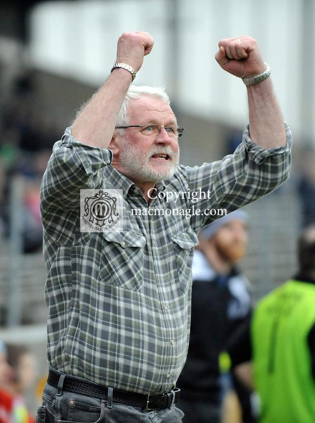30-11-2014: Ardfert mentor and Sinn Fein TD Martin Ferris celebrates his teams victory  in the Munster GAA Club Intermediate Football final in Killarney on Saturday.<br /> Picture by Don MacMonagle XXJOB