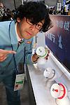 February 19, 2017, Chiba, Japan - A member of Japan's art unit Maywa Denki, Novmichi Tosa displays the new gadget Parabora displays the new gadget Parabora before his live performance at the Wonder Festival 2017 Winter at Chiba, suburban Tokyo on Sunday, February 19, 2017. Novmichi Tosa unveiled his new gadget Parabora at the plastic -model trade show.    (Photo by Yoshio Tsunoda/AFLO) LwX -ytd-