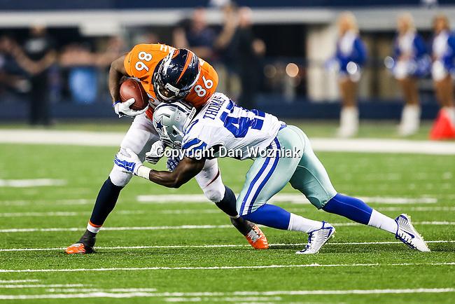 Dallas Cowboys defensive back Johnny Thomas (47) and Denver Broncos tight end Cameron Morrah (86) in action during the pre-season game between the Denver Broncos and the Dallas Cowboys at the AT & T stadium in Arlington, Texas. Denver defeats Dallas 27 to 3.
