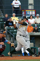 Pedro Alvarez of the Lynchburg Hillcats batting versus the Myrtle Beach Pelicans on April 28, 2009