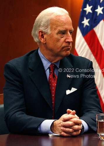 Chicago, IL - December 9, 2008 -- United States Vice President-elect Joe Biden sits after a private meeting with former Vice President Al Gore and President-elect Barack Obama at Obama's transition office on December 9, 2008 in Chicago, Illinois. An Obama spokesman said the three men discussed energy and climate change and how policies in those areas could help the economy.                                                          Credit: Brian Kersey - Pool via CNP