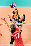 Middle blocker Nana Iwasaka of Japan (R) spikes the ball during the FIVB Volleyball World Grand Prix match between Japan vs Russia on 23 July 2017 in Hong Kong, China. Photo by Marcio Rodrigo Machado / Power Sport Images