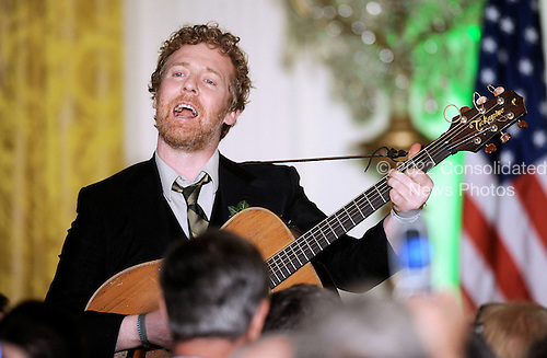Glen Hansard, frontman of The Frames and star of the movie Once, performed before the president arrived, singing Irish songs during a St. Patrick's Day reception in the East Room of the White House in Washington, DC, March 17, 2011. .Credit: Olivier Douliery / Pool via CNP