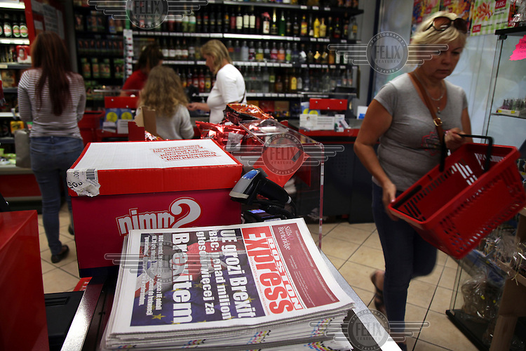 Copies of the Polish Language Boston Express, with a headline announcing victory for the 'leave' side in the EU referendum, for sale in a convenience store. <br /> The town of Boston had the country's highest proportion of 'leave' votes cast in the EU referendum with almost 76 percent of ballots cast for Brexit. Lincolnshire has, in recent years, seen an influx of EU workers drawn to the area's agricultural industry. The 2011 census found about 13 percent of Boston's residents were born in Eastern Europe and migrated to the UK since 2004.
