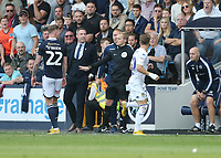 Millwall manager &nbsp;Neil Harris has a disagreement with Leeds United's Ezgjan&nbsp;Alioski<br /> <br /> Photographer Rob Newell/CameraSport<br /> <br /> The EFL Sky Bet Championship - Millwall v Leeds United - Saturday 15th September 2018 - The Den - London<br /> <br /> World Copyright &copy; 2018 CameraSport. All rights reserved. 43 Linden Ave. Countesthorpe. Leicester. England. LE8 5PG - Tel: +44 (0) 116 277 4147 - admin@camerasport.com - www.camerasport.com
