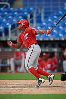Washington Nationals Omar Meregildo (12) follows through on a swing during a Florida Instructional League game against the Miami Marlins on September 26, 2018 at the Marlins Park in Miami, Florida.  (Mike Janes/Four Seam Images)