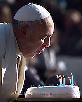 Happy Birthday!..Pope Francis during his weekly general audience in St. Peter square at the Vatican, Wednesday. December 17, 2014