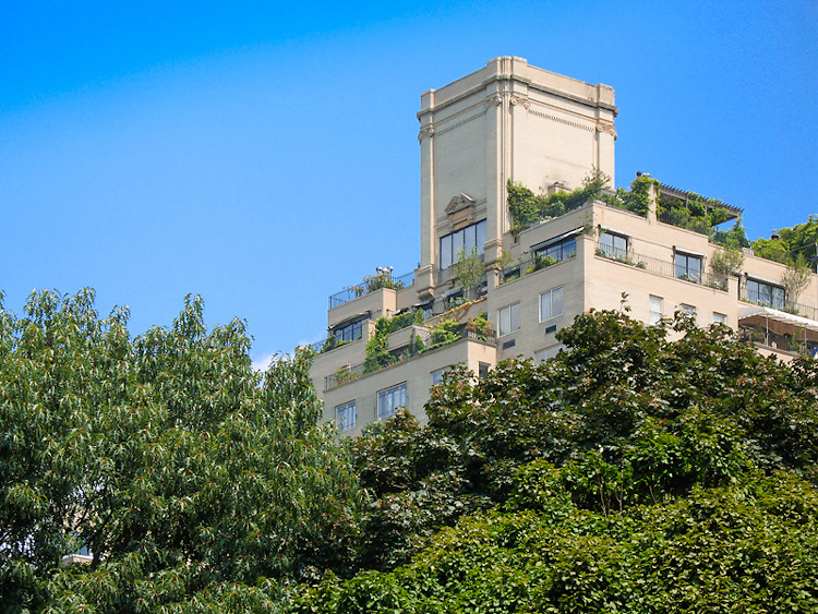 A building juts out through the trees overlooking Central Park in New York City.