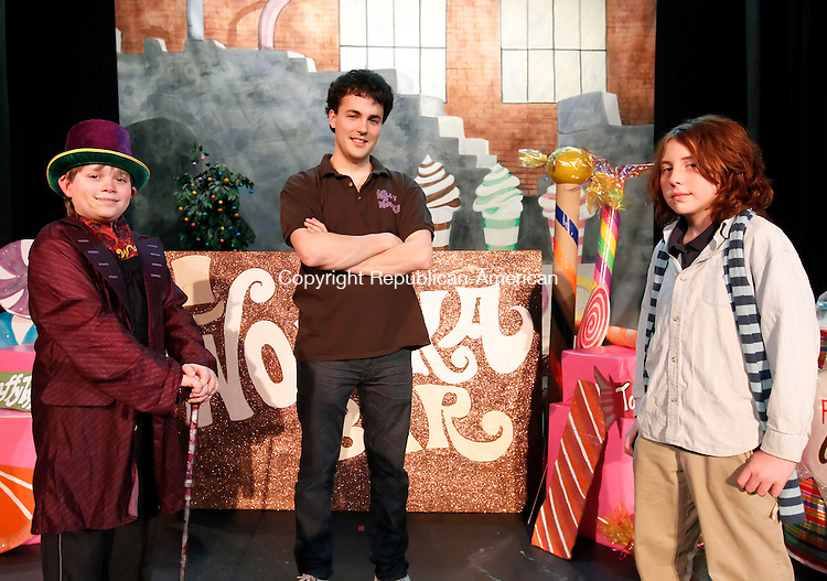 """Thomaston, CT-20 March 2012-032012CM09-  Connor Barth of Wolcott, as """"Willy Wonka"""" (left),  director Richard McKenna (center) and Louis Molliconi as """"Charlie Bucket"""" during rehearsal at  Willy Wonka Junior at the Thomaston Opera House Tuesday afternoon.  The production will run Friday March 23, 2012 and Saturday March.   Christopher Massa Republican-American"""