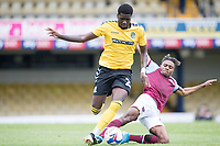 Richard Taylor, Southend United, tackled by Ossama Ashley, West Ham U21's during Southend United vs West Ham United Under-21, EFL Trophy Football at Roots Hall on 8th September 2020