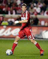 Chicago Fire forward Brian McBride (20) looks for somebody to pass to.  Real Salt Lake defeated the Chicago Fire in a penalty kick shootout 0-0 (5-4 PK) in the Eastern Conference Final at Toyota Park in Bridgeview, IL on November 14, 2009.