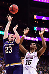 COLUMBUS, OH - APRIL 1: Jessica Shepard #23 of the Notre Dame Fighting Irish shoots the ball as Teaira McCowan #15 of the Mississippi State Bulldogs defends during the championship game of the 2018 NCAA Division I Women's Basketball Final Four at Nationwide Arena in Columbus, Ohio. (Photo by Ben Solomon/NCAA Photos via Getty Images)