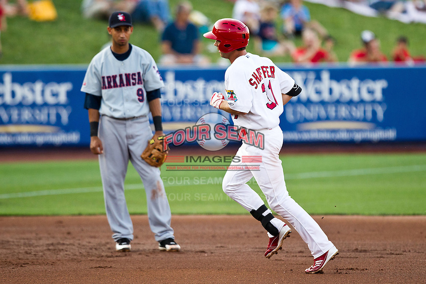 Jake Shaffer (31) of the Springfield Cardinals rounds the bases after hitting a home run during a game against the Arkansas Travelers at Hammons Field on May 5, 2012 in Springfield, Missouri. (David Welker/Four Seam Images)
