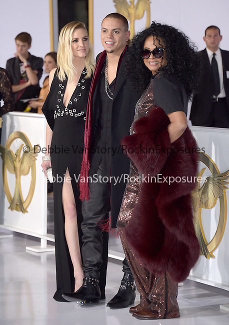 Ashlee Simpson Ross,Evan Ross and Diana Ross  at The  Los Angeles Premiere of The Hunger Games: Mockingjay - Part 1 held at  Nokia Theatre L.A. Live in Los Angeles, California on November 17,2014                                                                               © 2014 Hollywood Press Agency