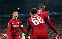 Liverpool's Georginio Wijnaldum is mobbed by Jordan Henderson (left) and Trent Alexander-Arnold as he celebrates scoring his side's third goal <br /> <br /> Photographer Rich Linley/CameraSport<br /> <br /> UEFA Champions League Semi-Final 2nd Leg - Liverpool v Barcelona - Tuesday May 7th 2019 - Anfield - Liverpool<br />  <br /> World Copyright &copy; 2018 CameraSport. All rights reserved. 43 Linden Ave. Countesthorpe. Leicester. England. LE8 5PG - Tel: +44 (0) 116 277 4147 - admin@camerasport.com - www.camerasport.com