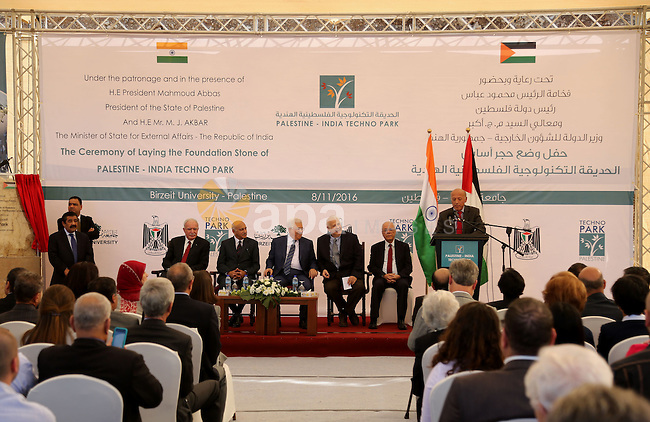 Palestinian President Mahmoud Abbas and India's Minister of State for External Affairs, attend a ceremony of laying the foundation stone of Palestine-India Techno Park, near the West Bank city of Ramallah November 8, 2016. Photo by Shadi Hatem