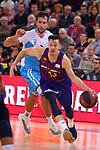 League ACB-ENDESA 2018/2019. Game: 14.<br /> FC Barcelona Lassa vs Monbus Obradoiro: 79-73.<br /> Nacho Llovet vs Thomas Heurtel.