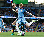 Kevin De Bruyne of Manchester City in action with Darren Fletcher of West Bromwich Albion during the English Premier League match at the Etihad Stadium, Manchester. Picture date: May 16th 2017. Pic credit should read: Simon Bellis/Sportimage