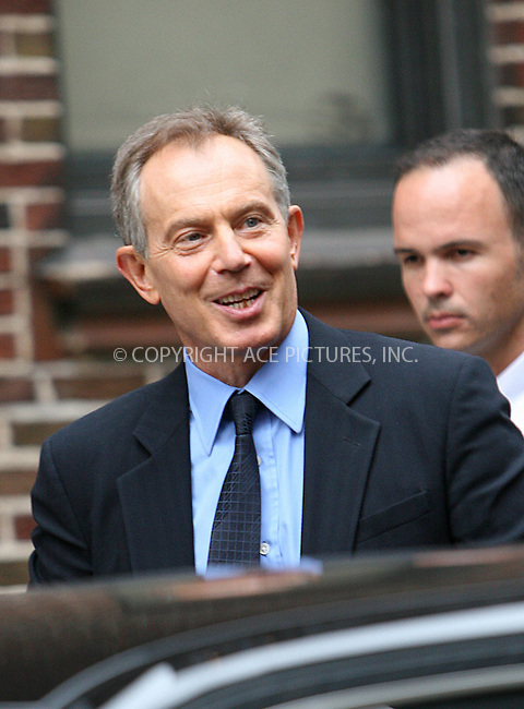 WWW.ACEPIXS.COM . . . . .  ....September 8 2009, New York City....Former British Prime Minister Tony Blair made an appearance at the 'Late Show with David Letterman' on September 8 2009 in New York City....Please byline: NANCY RIVERA- ACE PICTURES.... *** ***..Ace Pictures, Inc:  ..tel: (212) 243 8787 or (646) 769 0430..e-mail: info@acepixs.com..web: http://www.acepixs.com