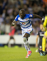 Modou Barrow of Reading celebrates scoring his goal 2 0 during the Sky Bet Championship match between Reading and Aston Villa at the Madejski Stadium, Reading, England on 15 August 2017. Photo by Andy Rowland / PRiME Media Images.
