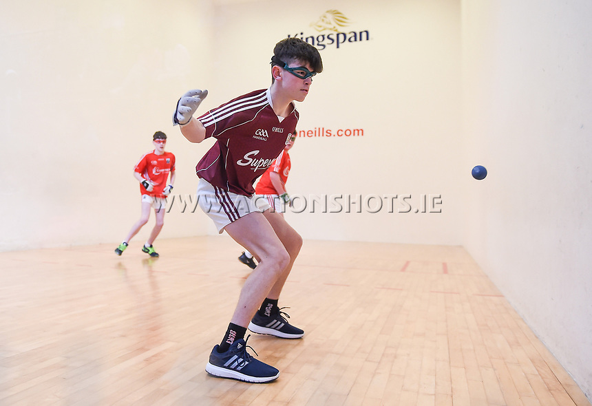 19/03/2018; 40x20 All Ireland Juvenile Championships Finals 2018; Kingscourt, Co Cavan;<br /> Boys Under-15 Doubles; Galway (Paul Kearns/Darragh Kyne) v Cork (Kealan Murphy/Gearoid Healy)<br /> Photo Credit: actionshots.ie/Tommy Grealy