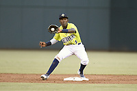 Shortstop Ronny Mauricio (2) of the Columbia Fireflies plays defense in a game against the Charleston RiverDogs on Saturday, April 6, 2019, at Segra Park in Columbia, South Carolina. Columbia won, 3-2. (Tom Priddy/Four Seam Images)