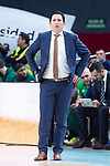 Panathinaikos coach Xavi Pascual during Turkish Airlines Euroleague Quarter Finals 4th match between Real Madrid and Panathinaikos at Wizink Center in Madrid, Spain. April 27, 2018. (ALTERPHOTOS/Borja B.Hojas)