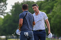 Justin Rose (GBR) shakes hands with Brooks Koepka (USA)on 18 after winning the Fort Worth Invitational, The Colonial, at Fort Worth, Texas, USA. 5/27/2018.<br /> Picture: Golffile | Ken Murray<br /> <br /> All photo usage must carry mandatory copyright credit (© Golffile | Ken Murray)