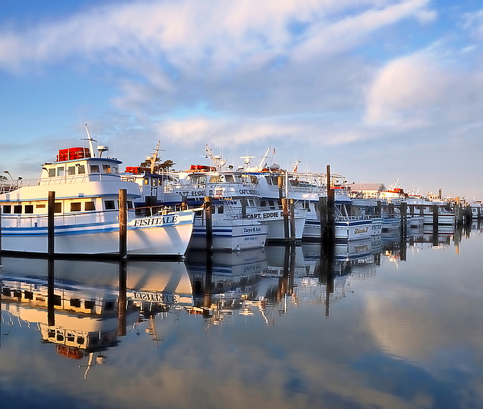 Reflection of the Fishtale and other boats at Captree, Fire Island, New York