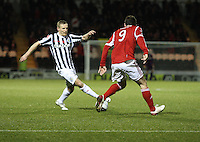 Gary Teale takes on Scott Vernon in the St Mirren v Aberdeen Clydesdale Bank Scottish Premier League match played at St Mirren Park, Paisley on 9.11.12.