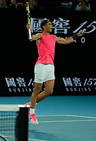 27th January 2020; Melbourne Park, Melbourne, Victoria, Australia; Australian Open Tennis, Day 8; Rafael Nadal of Spain celebrates his win against Nick Kyrgios of Australia during their game