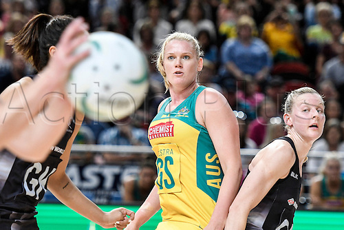 09.10.2016. Qudos Bank Arena, Sydney, Australia. Constellation Cup Netball. Australia Diamonds versus New Zealand Silver Ferns. Australias Caitlin Thwaites watches on as NZ mount an attack. The Diamonds won the game 68-56.