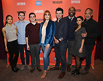 """Julia Abueva, Jake Levy, Kyle McArthur, Kate Baldwin, Bryce Pinkham Nathaniel Stampley, Salena Qureshi and Thom Sesma during the Sneak Peak Meet the cast and creative team of the World Premiere Musical """"Superhero"""" on January 16, 2019 at the Green Room 42 in New York City."""