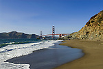 San Francisco: Baker Beach with Golden Gate Bridge in background.  Photo # 2-casanf83762.  Photo copyright Lee Foster
