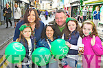 Enjoying the Killarney St Patricks day parade on Saturday was l-r: Hazel Murphy, Mary O'Donnell, Ann Marie Murphy, Anthony O'Donnell, Ella Murphy and Aoibhe Rose O'Donnell..