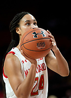 COLLEGE PARK, MD - DECEMBER 28: Stephanie Jones #24 of Maryland at the free throw line. during a game between University of Michigan and University of Maryland at Xfinity Center on December 28, 2019 in College Park, Maryland.