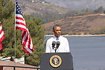President Barack Obama declares part of San Gabriel Mountain range as a national monument on October 10th 2014 at Frank G. Bonelli Regional Park,San Dimas.California.USA