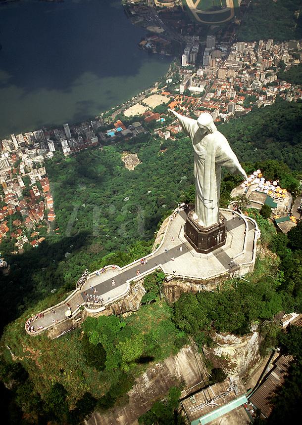 Aerial view of the the Corcovado Christ statue; the city of Rio de Janeiro and harbor below. Rio de Janeiro, Brazil.