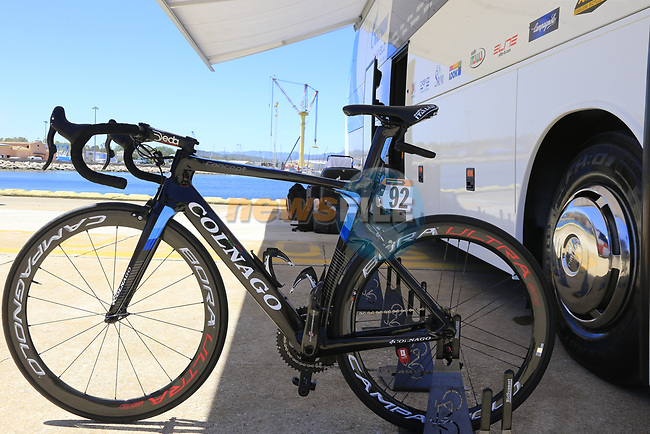 Gazprom-Rusvelo team Colnago Intenso lined up outside the team bus at Arbatax before the start of Stage 3 of the 100th edition of the Giro d'Italia 2017, running 148km from Tortoli to Cagliari, Sardinia, Italy. 7th May 2017.<br /> Picture: Eoin Clarke | Cyclefile<br /> <br /> <br /> All photos usage must carry mandatory copyright credit (&copy; Cyclefile | Eoin Clarke)