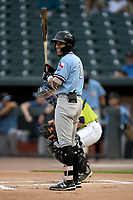 Shortstop Jonathan Ornelas (3) of the Hickory Crawdads bats in a game against the Columbia Fireflies on Tuesday, August 27, 2019, at Segra Park in Columbia, South Carolina. Columbia won, 3-2. (Tom Priddy/Four Seam Images)